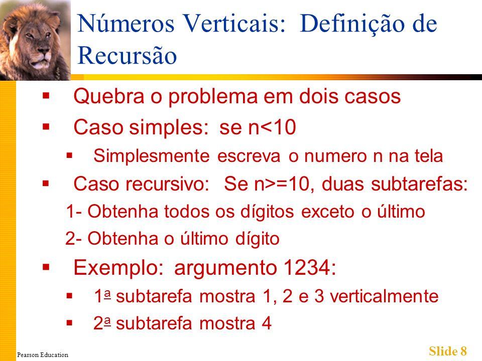 Pearson Education Slide 8 Números Verticais: Definição de Recursão Quebra o problema em dois casos Caso simples: se n<10 Simplesmente escreva o numero n na tela Caso recursivo: Se n>=10, duas subtarefas: 1- Obtenha todos os dígitos exceto o último 2- Obtenha o último dígito Exemplo: argumento 1234: 1 a subtarefa mostra 1, 2 e 3 verticalmente 2 a subtarefa mostra 4