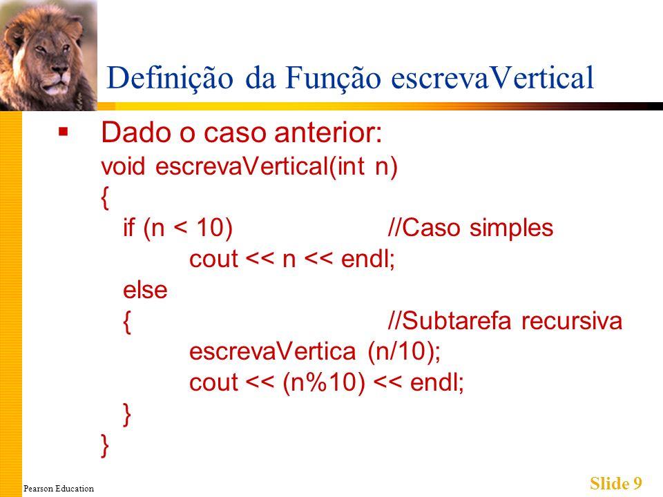 Pearson Education Slide 9 Definição da Função escrevaVertical Dado o caso anterior: void escrevaVertical(int n) { if (n < 10) //Caso simples cout << n << endl; else {//Subtarefa recursiva escrevaVertica (n/10); cout << (n%10) << endl; } }