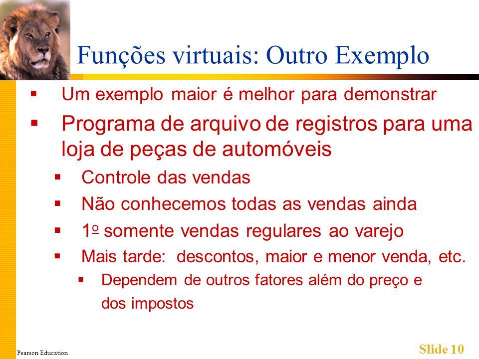 Pearson Education Slide 10 Funções virtuais: Outro Exemplo Um exemplo maior é melhor para demonstrar Programa de arquivo de registros para uma loja de