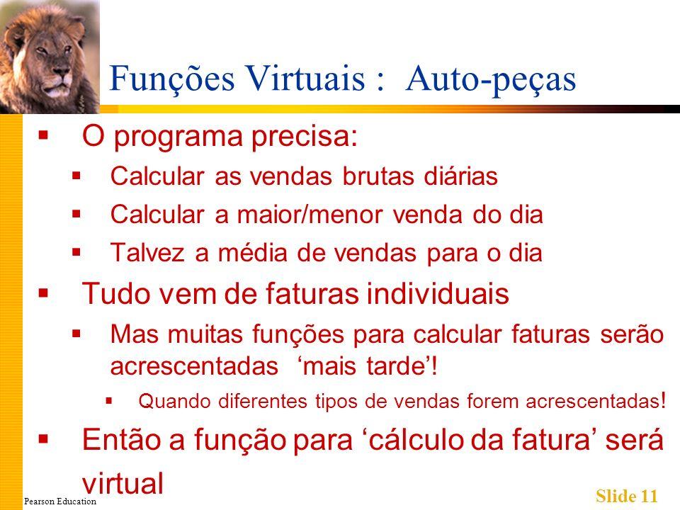 Pearson Education Slide 11 Funções Virtuais : Auto-peças O programa precisa: Calcular as vendas brutas diárias Calcular a maior/menor venda do dia Tal