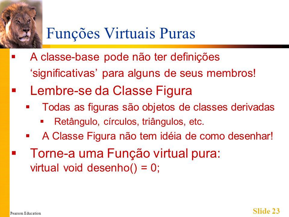 Pearson Education Slide 23 Funções Virtuais Puras A classe-base pode não ter definições significativas para alguns de seus membros! Lembre-se da Class