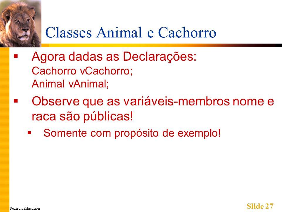 Pearson Education Slide 27 Classes Animal e Cachorro Agora dadas as Declarações: Cachorro vCachorro; Animal vAnimal; Observe que as variáveis-membros