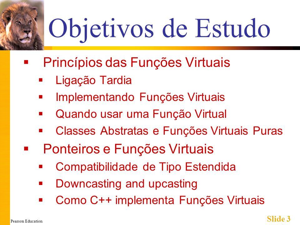 Pearson Education Slide 3 Objetivos de Estudo Princípios das Funções Virtuais Ligação Tardia Implementando Funções Virtuais Quando usar uma Função Vir