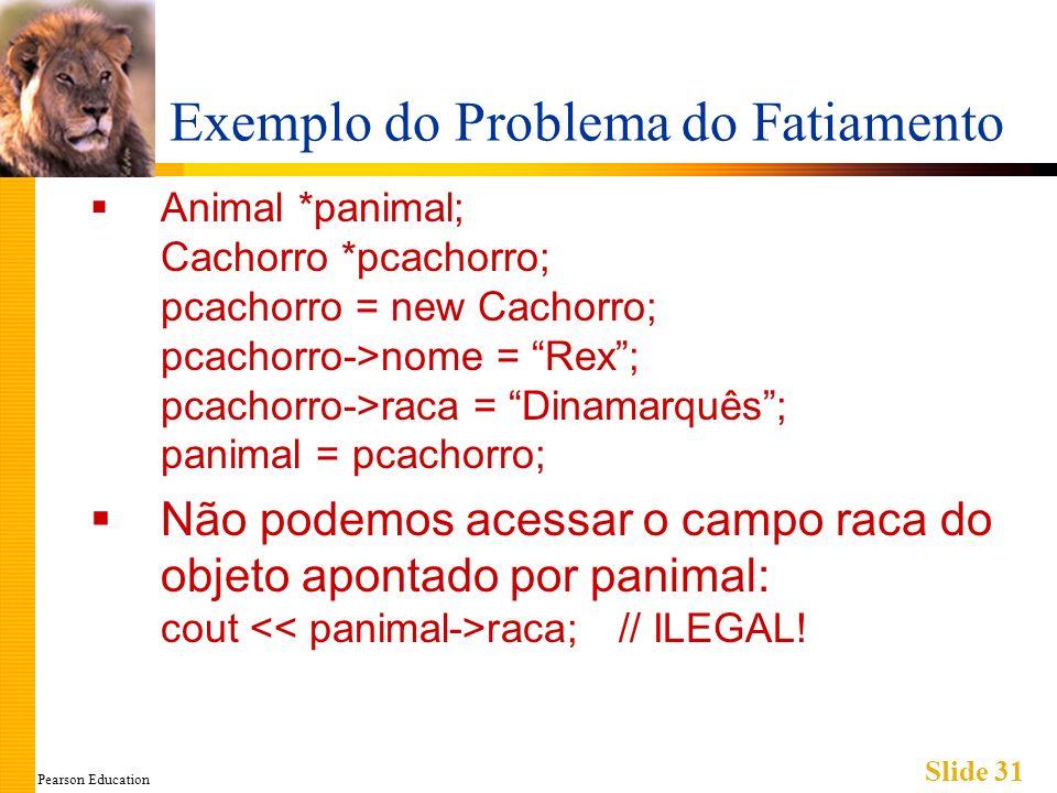 Pearson Education Slide 31 Exemplo do Problema do Fatiamento Animal *panimal; Cachorro *pcachorro; pcachorro = new Cachorro; pcachorro->nome = Rex; pc