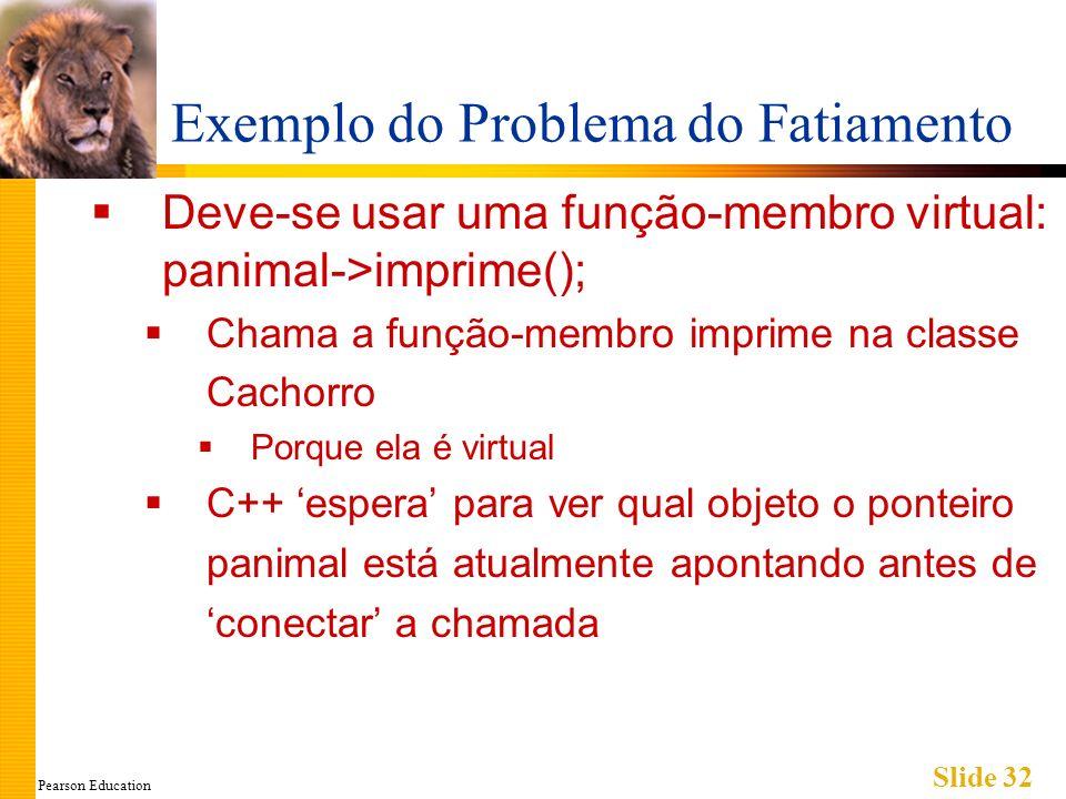 Pearson Education Slide 32 Exemplo do Problema do Fatiamento Deve-se usar uma função-membro virtual: panimal->imprime(); Chama a função-membro imprime