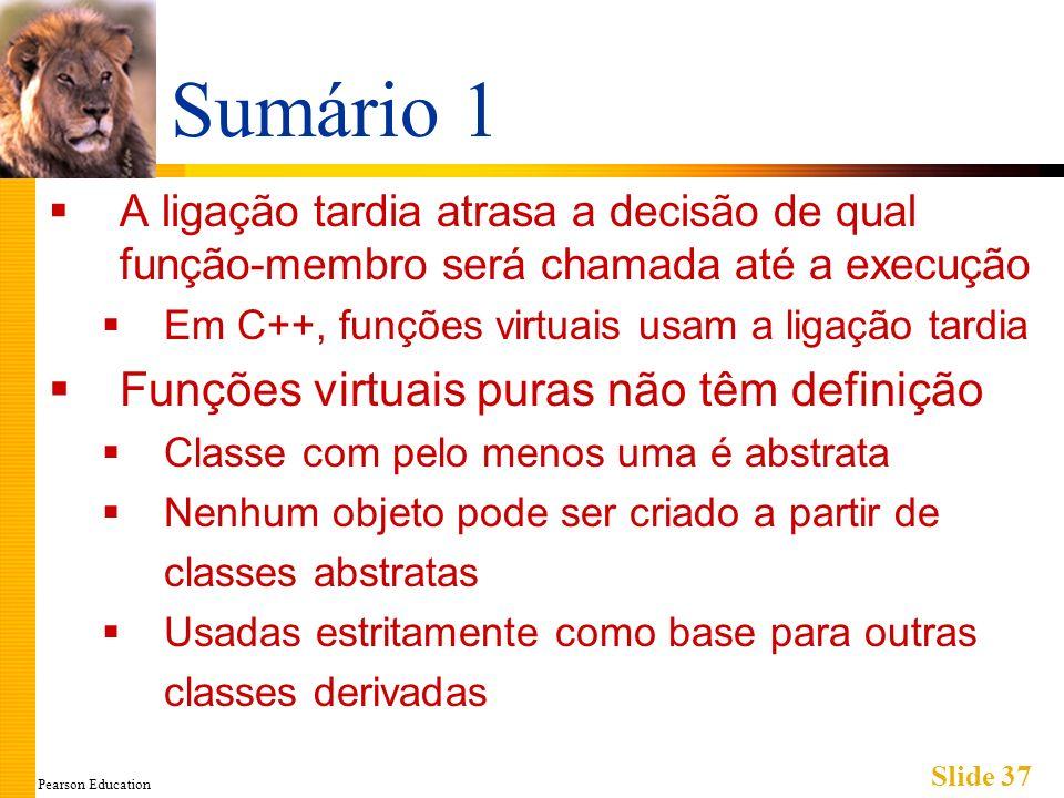 Pearson Education Slide 37 Sumário 1 A ligação tardia atrasa a decisão de qual função-membro será chamada até a execução Em C++, funções virtuais usam