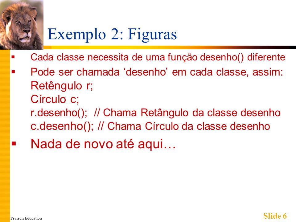 Pearson Education Slide 6 Exemplo 2: Figuras Cada classe necessita de uma função desenho() diferente Pode ser chamada desenho em cada classe, assim: R