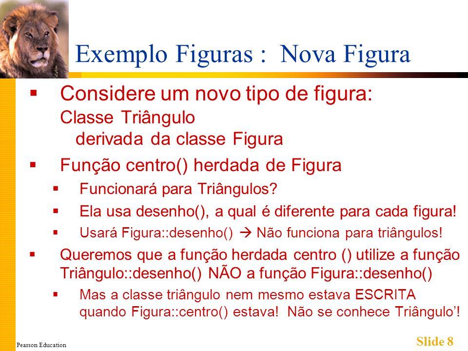 Pearson Education Slide 8 Exemplo Figuras : Nova Figura Considere um novo tipo de figura: Classe Triângulo derivada da classe Figura Função centro() h