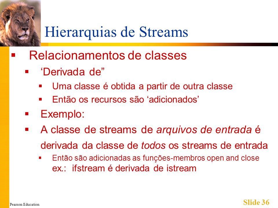 Pearson Education Slide 36 Hierarquias de Streams Relacionamentos de classes Derivada de Uma classe é obtida a partir de outra classe Então os recursos são adicionados Exemplo: A classe de streams de arquivos de entrada é derivada da classe de todos os streams de entrada Então são adicionadas as funções-membros open and close ex.: ifstream é derivada de istream