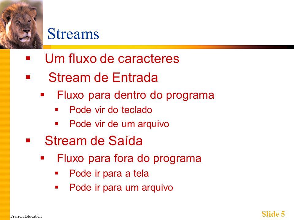 Pearson Education Slide 5 Streams Um fluxo de caracteres Stream de Entrada Fluxo para dentro do programa Pode vir do teclado Pode vir de um arquivo Stream de Saída Fluxo para fora do programa Pode ir para a tela Pode ir para um arquivo