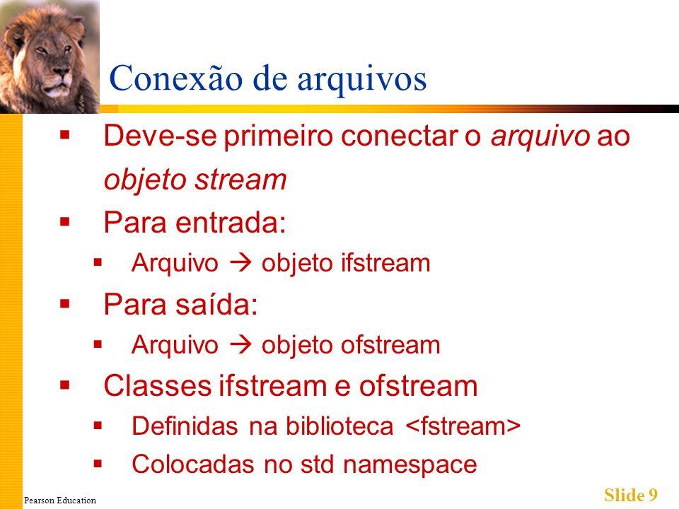 Pearson Education Slide 9 Conexão de arquivos Deve-se primeiro conectar o arquivo ao objeto stream Para entrada: Arquivo objeto ifstream Para saída: Arquivo objeto ofstream Classes ifstream e ofstream Definidas na biblioteca Colocadas no std namespace
