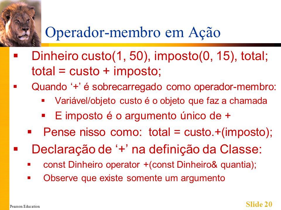 Pearson Education Slide 20 Operador-membro em Ação Dinheiro custo(1, 50), imposto(0, 15), total; total = custo + imposto; Quando + é sobrecarregado como operador-membro: Variável/objeto custo é o objeto que faz a chamada E imposto é o argumento único de + Pense nisso como: total = custo.+(imposto); Declaração de + na definição da Classe: const Dinheiro operator +(const Dinheiro& quantia); Observe que existe somente um argumento