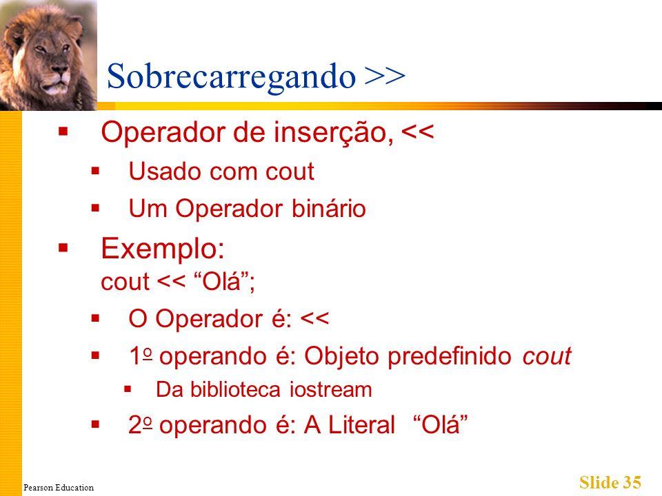 Pearson Education Slide 35 Sobrecarregando >> Operador de inserção, << Usado com cout Um Operador binário Exemplo: cout << Olá; O Operador é: << 1 o operando é: Objeto predefinido cout Da biblioteca iostream 2 o operando é: A Literal Olá