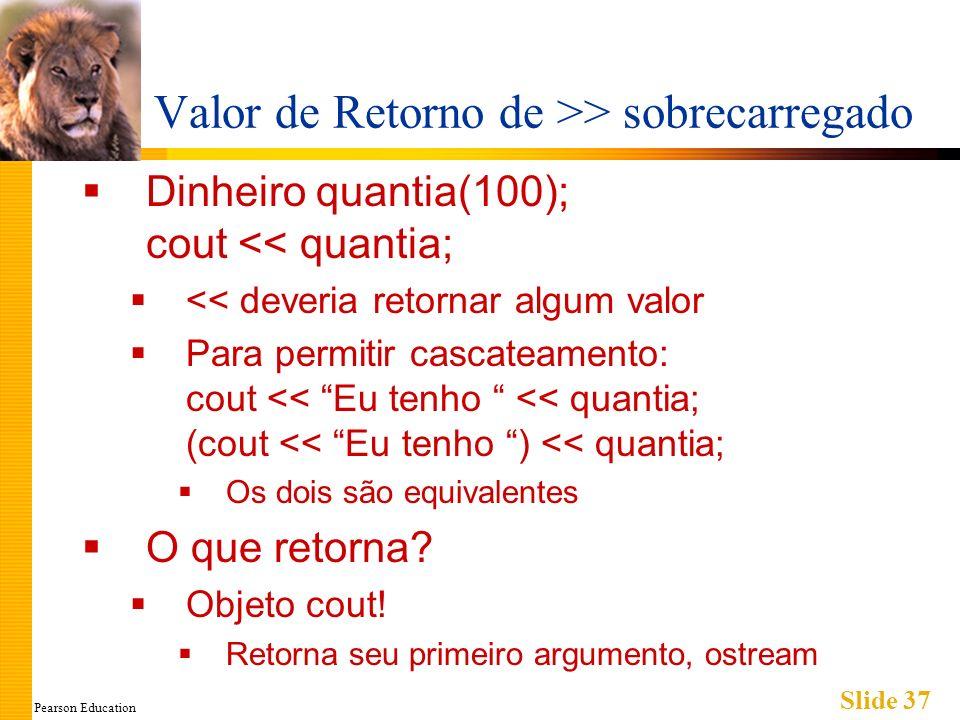 Pearson Education Slide 37 Valor de Retorno de >> sobrecarregado Dinheiro quantia(100); cout << quantia; << deveria retornar algum valor Para permitir cascateamento: cout << Eu tenho << quantia; (cout << Eu tenho ) << quantia; Os dois são equivalentes O que retorna.