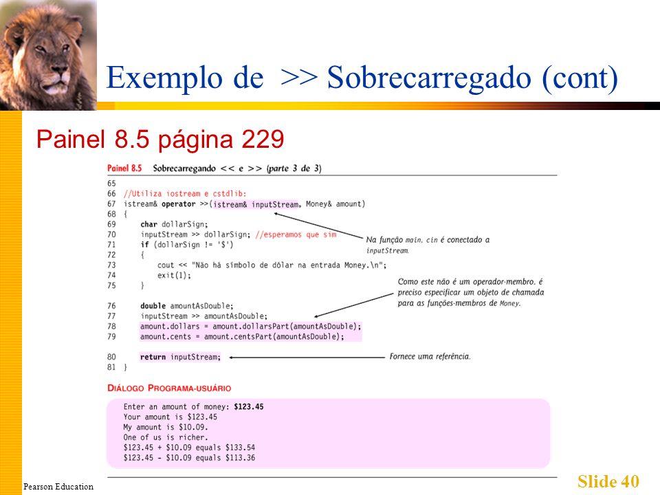 Pearson Education Slide 40 Exemplo de >> Sobrecarregado (cont) Painel 8.5 página 229
