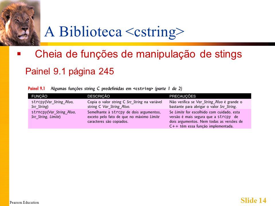 Pearson Education Slide 14 A Biblioteca Cheia de funções de manipulação de stings Painel 9.1 página 245