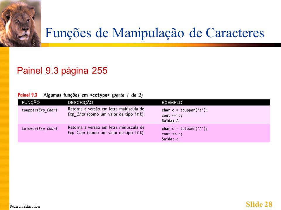 Pearson Education Slide 28 Funções de Manipulação de Caracteres Painel 9.3 página 255