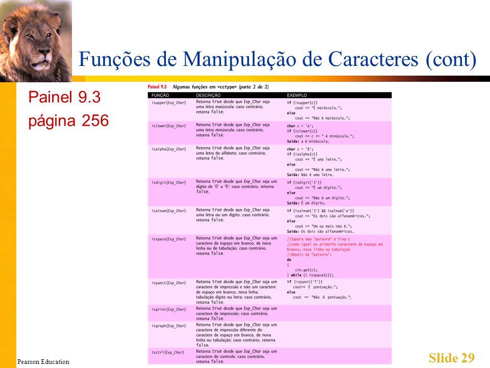 Pearson Education Slide 29 Funções de Manipulação de Caracteres (cont) Painel 9.3 página 256