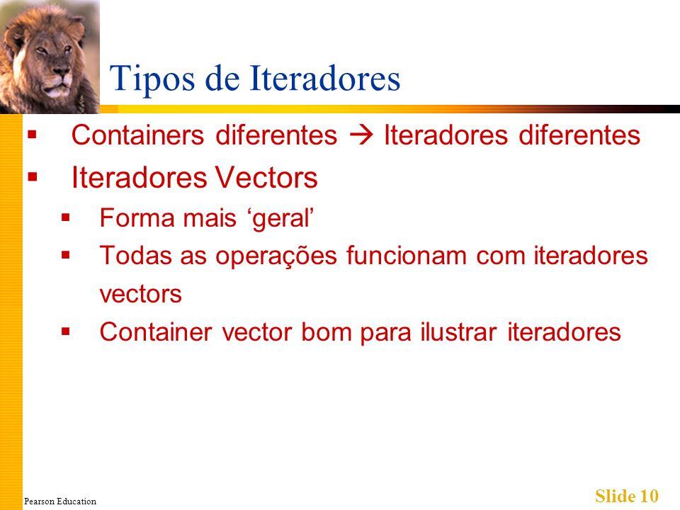 Pearson Education Slide 10 Tipos de Iteradores Containers diferentes Iteradores diferentes Iteradores Vectors Forma mais geral Todas as operações func