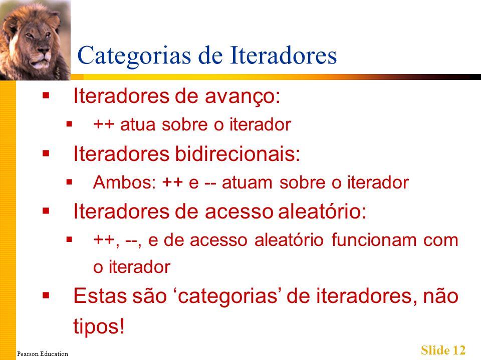Pearson Education Slide 12 Categorias de Iteradores Iteradores de avanço: ++ atua sobre o iterador Iteradores bidirecionais: Ambos: ++ e -- atuam sobr