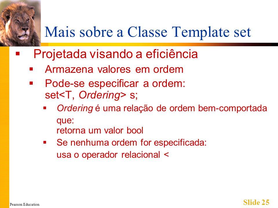 Pearson Education Slide 25 Mais sobre a Classe Template set Projetada visando a eficiência Armazena valores em ordem Pode-se especificar a ordem: set