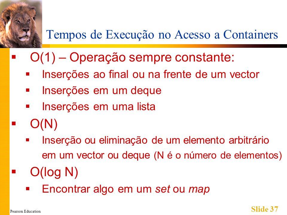 Pearson Education Slide 37 Tempos de Execução no Acesso a Containers O(1) – Operação sempre constante: Inserções ao final ou na frente de um vector In