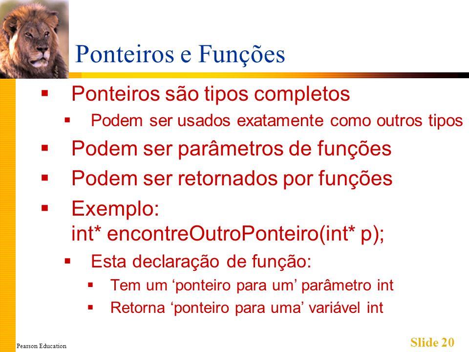 Pearson Education Slide 20 Ponteiros e Funções Ponteiros são tipos completos Podem ser usados exatamente como outros tipos Podem ser parâmetros de fun
