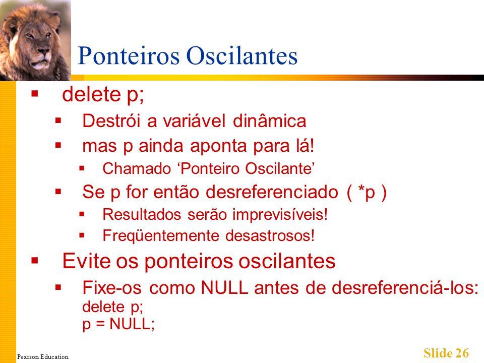 Pearson Education Slide 26 Ponteiros Oscilantes delete p; Destrói a variável dinâmica mas p ainda aponta para lá! Chamado Ponteiro Oscilante Se p for