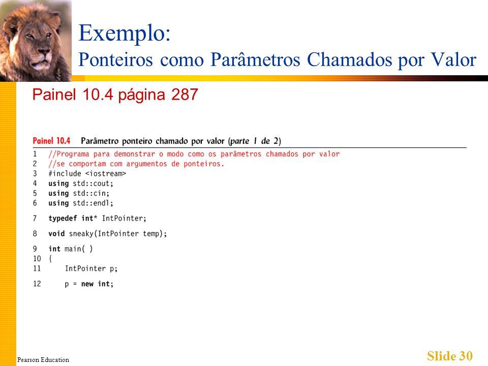 Pearson Education Slide 30 Exemplo: Ponteiros como Parâmetros Chamados por Valor Painel 10.4 página 287