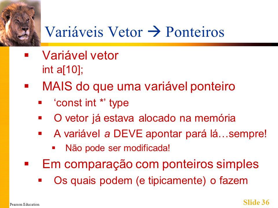 Pearson Education Slide 36 Variáveis Vetor Ponteiros Variável vetor int a[10]; MAIS do que uma variável ponteiro const int * type O vetor já estava al