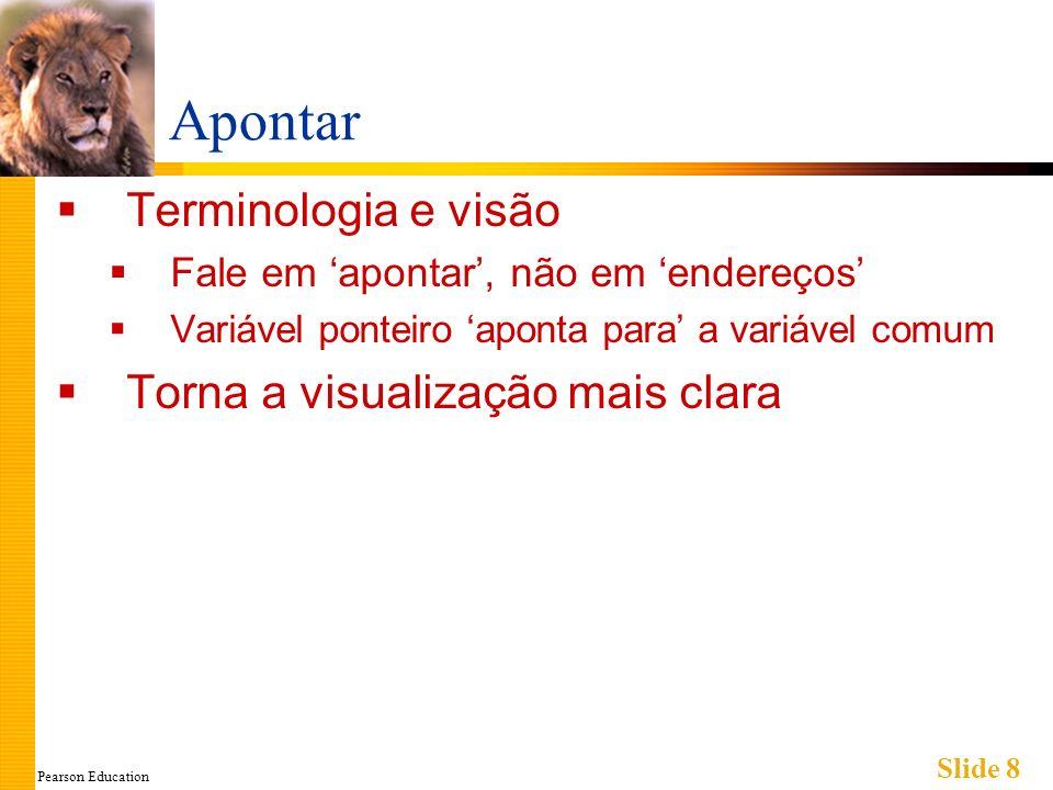 Pearson Education Slide 8 Apontar Terminologia e visão Fale em apontar, não em endereços Variável ponteiro aponta para a variável comum Torna a visual