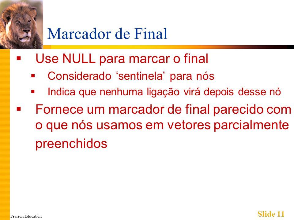 Pearson Education Slide 11 Marcador de Final Use NULL para marcar o final Considerado sentinela para nós Indica que nenhuma ligação virá depois desse nó Fornece um marcador de final parecido com o que nós usamos em vetores parcialmente preenchidos