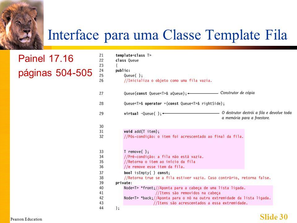 Pearson Education Slide 30 Interface para uma Classe Template Fila Painel 17.16 páginas 504-505