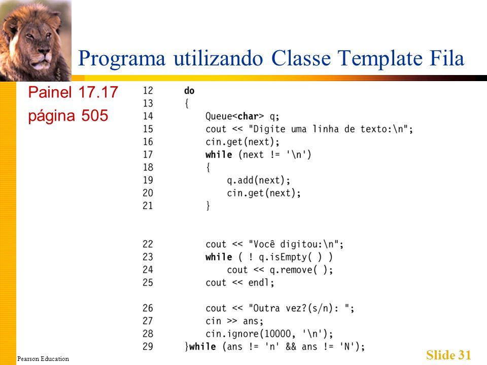 Pearson Education Slide 31 Programa utilizando Classe Template Fila Painel 17.17 página 505