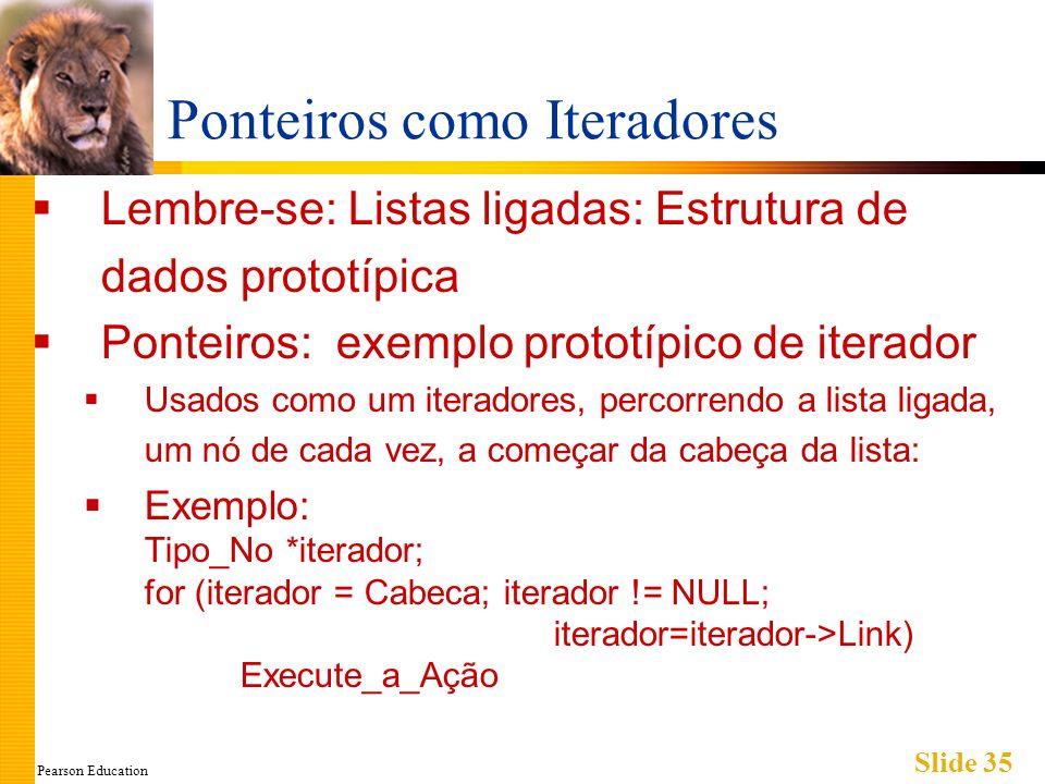Pearson Education Slide 35 Ponteiros como Iteradores Lembre-se: Listas ligadas: Estrutura de dados prototípica Ponteiros: exemplo prototípico de iterador Usados como um iteradores, percorrendo a lista ligada, um nó de cada vez, a começar da cabeça da lista: Exemplo: Tipo_No *iterador; for (iterador = Cabeca; iterador != NULL; iterador=iterador->Link) Execute_a_Ação