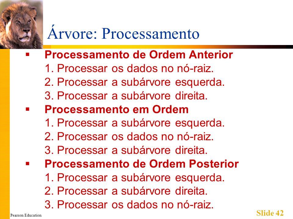Pearson Education Slide 42 Árvore: Processamento Processamento de Ordem Anterior 1. Processar os dados no nó-raiz. 2. Processar a subárvore esquerda.