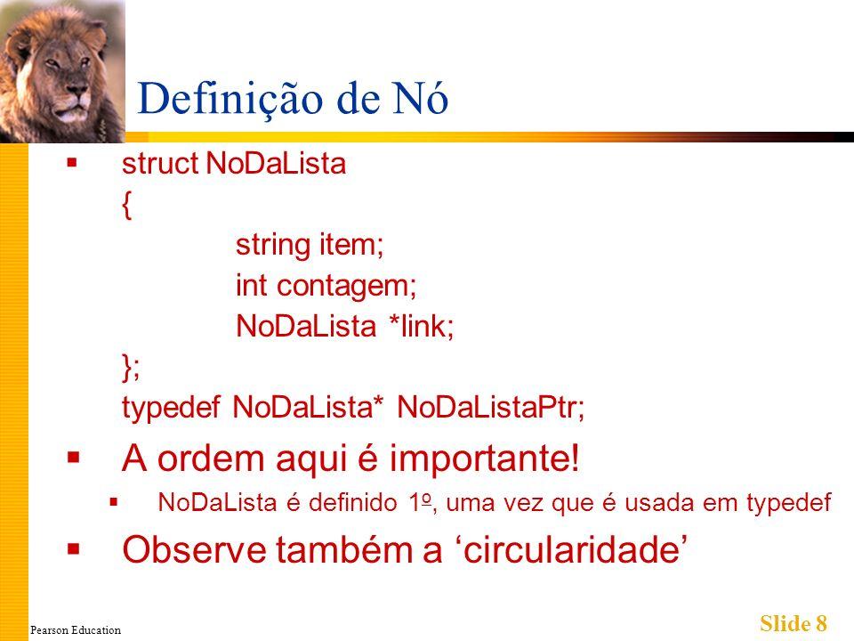 Pearson Education Slide 8 Definição de Nó struct NoDaLista { string item; int contagem; NoDaLista *link; }; typedef NoDaLista* NoDaListaPtr; A ordem aqui é importante.
