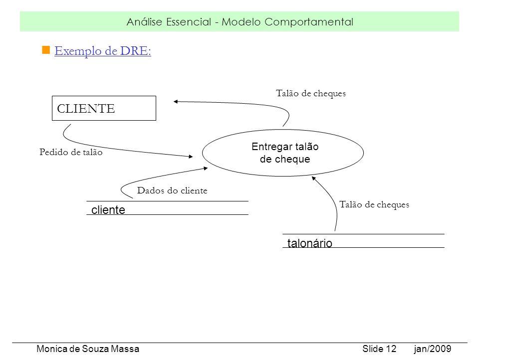 Análise Essencial - Modelo Comportamental Monica de Souza Massa Slide 12 jan/2009 Exemplo de DRE: Entregar talão de cheque CLIENTE cliente talonário P