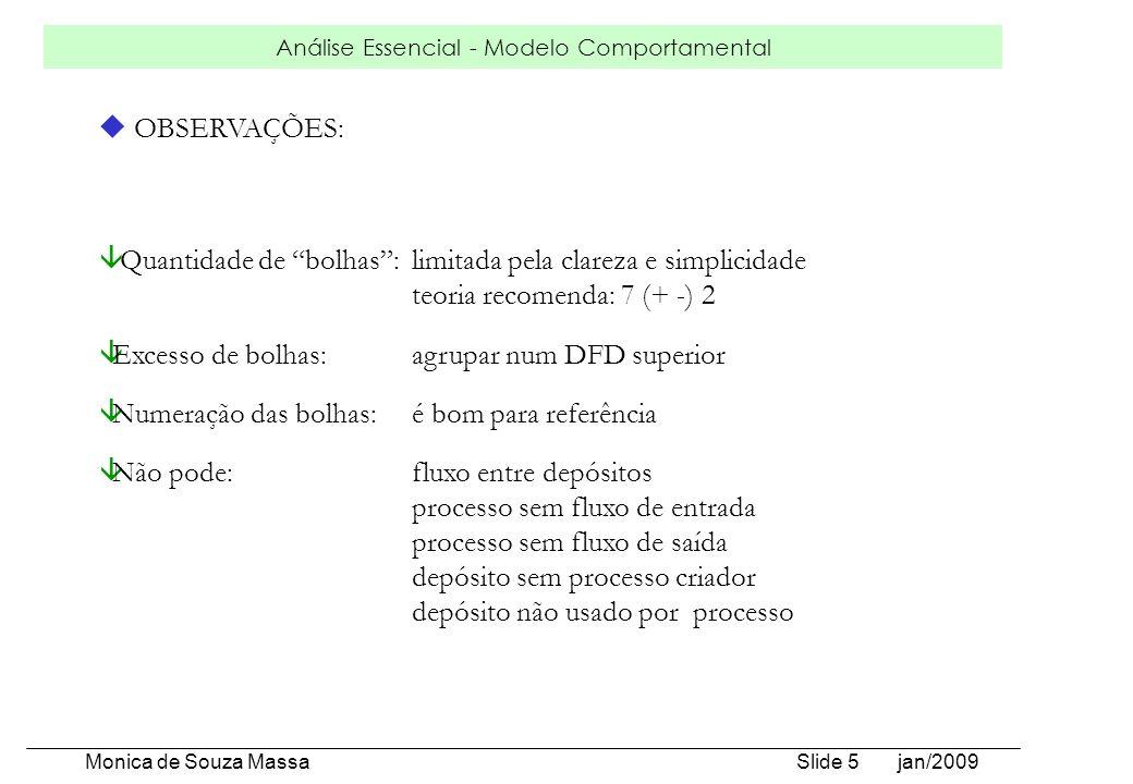 Análise Essencial - Modelo Comportamental Monica de Souza Massa Slide 5 jan/2009 u OBSERVAÇÕES: â Quantidade de bolhas:limitada pela clareza e simplic