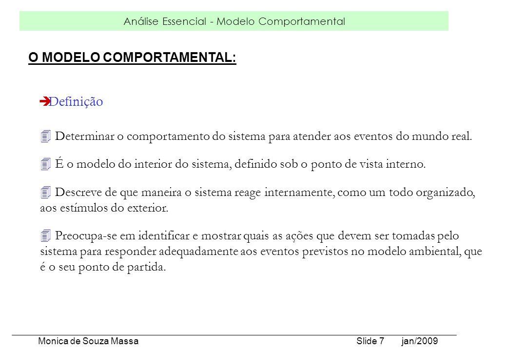 Análise Essencial - Modelo Comportamental Monica de Souza Massa Slide 7 jan/2009 4 Determinar o comportamento do sistema para atender aos eventos do m
