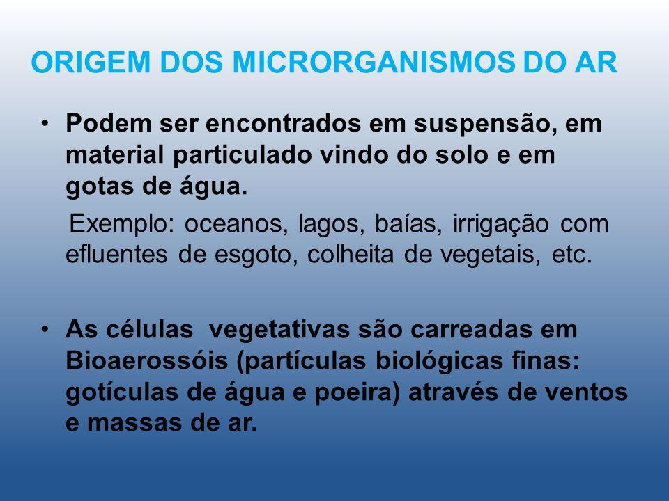 ORIGEM DOS MICRORGANISMOS DO AR Podem ser encontrados em suspensão, em material particulado vindo do solo e em gotas de água. Exemplo: oceanos, lagos,
