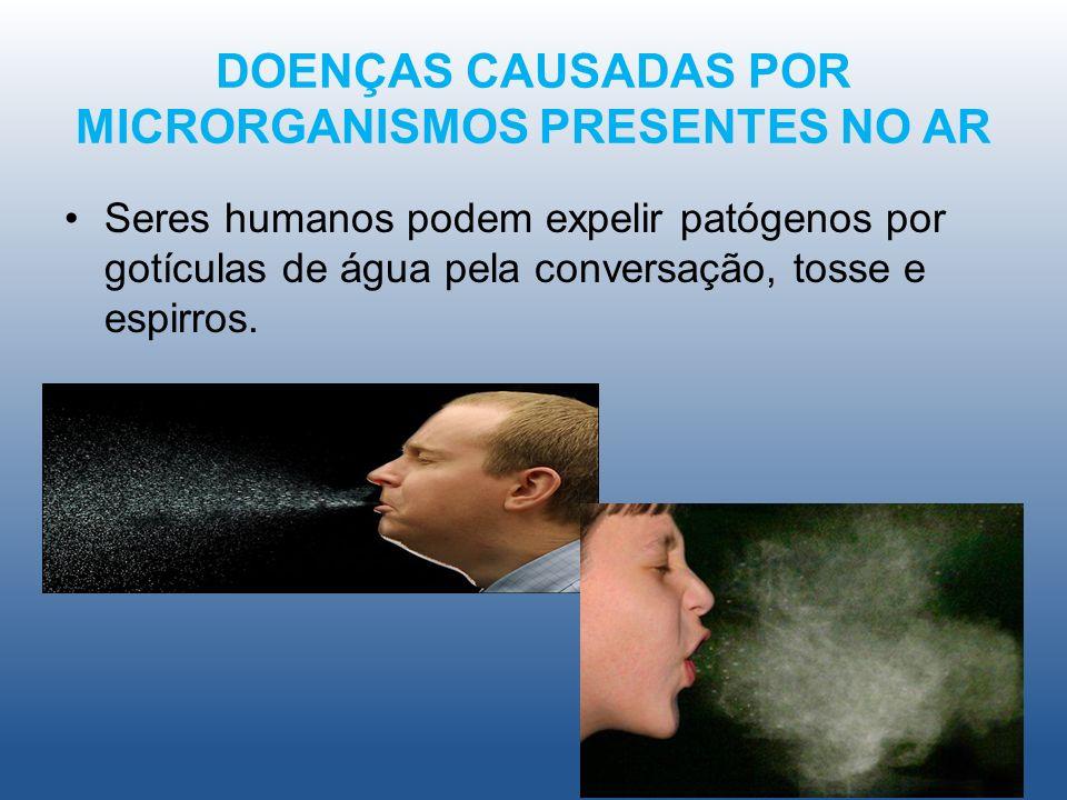 DOENÇAS CAUSADAS POR MICRORGANISMOS PRESENTES NO AR Seres humanos podem expelir patógenos por gotículas de água pela conversação, tosse e espirros..