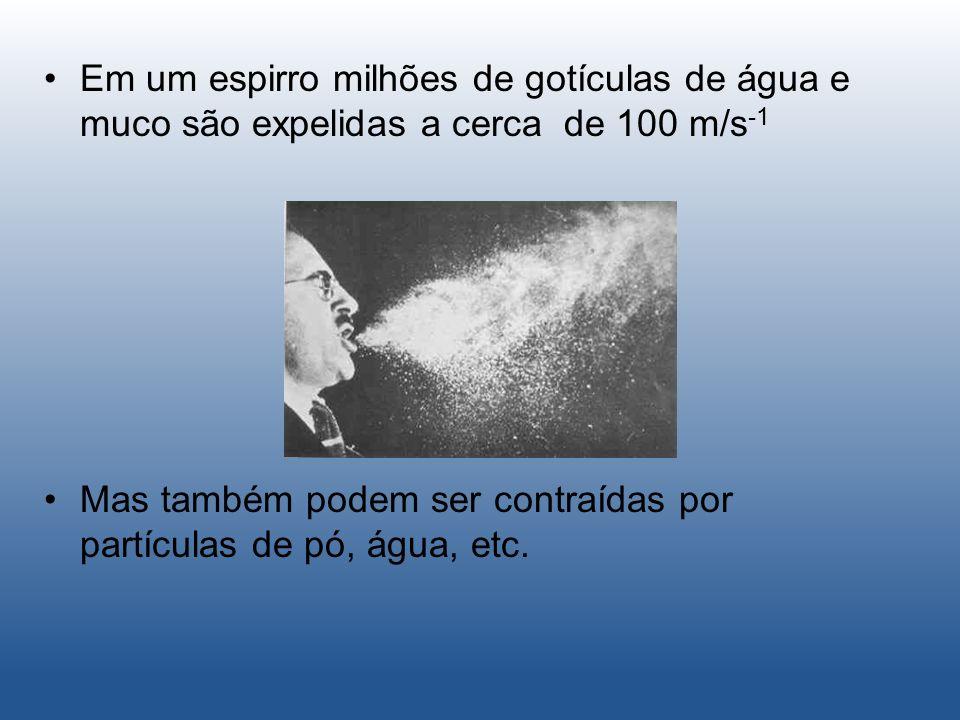 Em um espirro milhões de gotículas de água e muco são expelidas a cerca de 100 m/s -1 Mas também podem ser contraídas por partículas de pó, água, etc.
