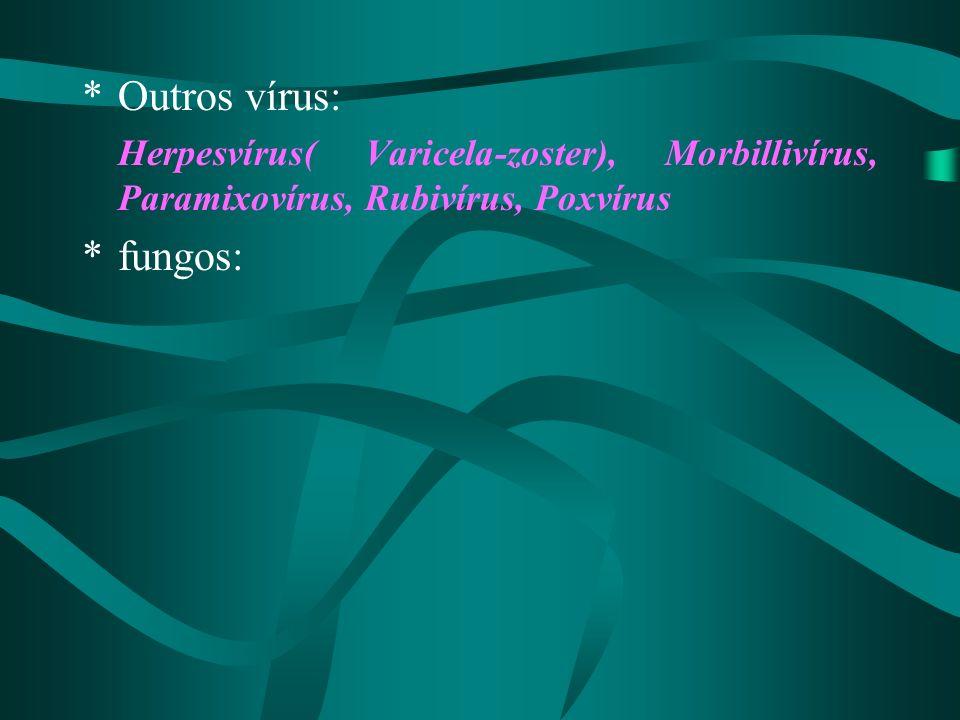 *Outros vírus: Herpesvírus( Varicela-zoster), Morbillivírus, Paramixovírus, Rubivírus, Poxvírus *fungos: