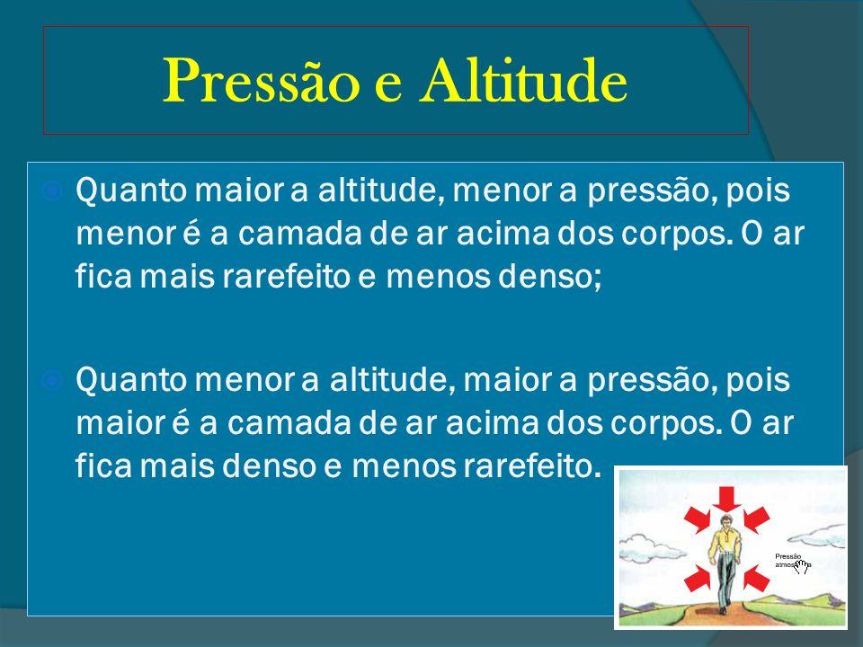 Pressão e Altitude Quanto maior a altitude, menor a pressão, pois menor é a camada de ar acima dos corpos. O ar fica mais rarefeito e menos denso; Qua