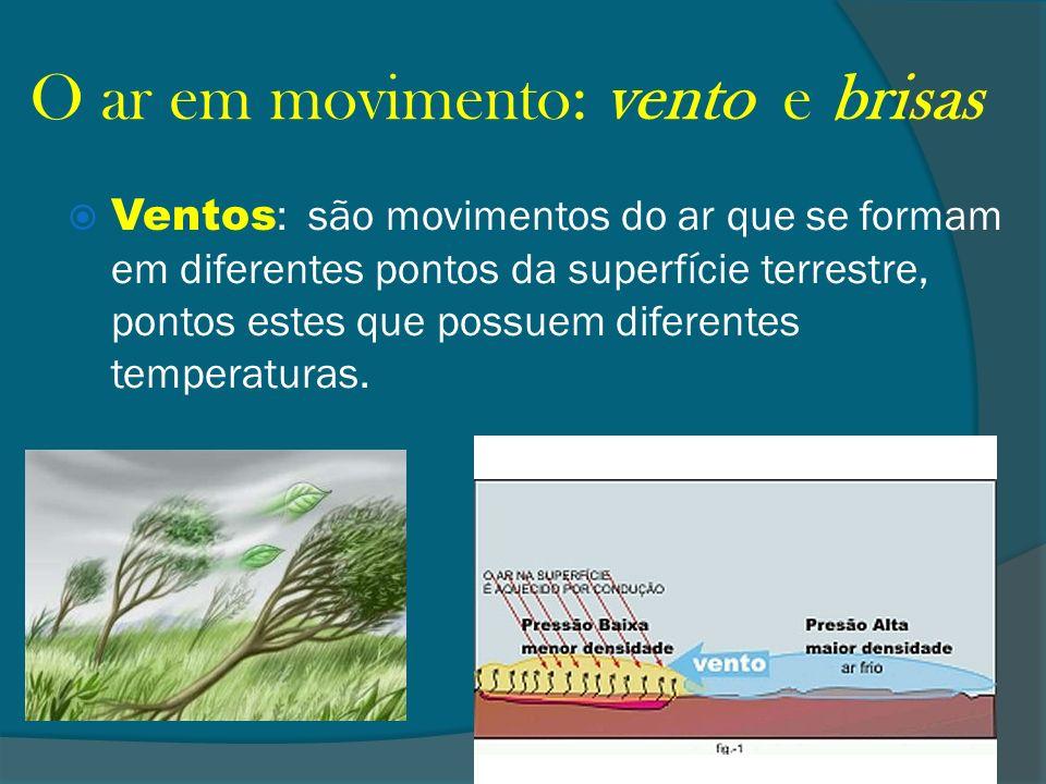 O ar em movimento: vento e brisas Ventos : são movimentos do ar que se formam em diferentes pontos da superfície terrestre, pontos estes que possuem d