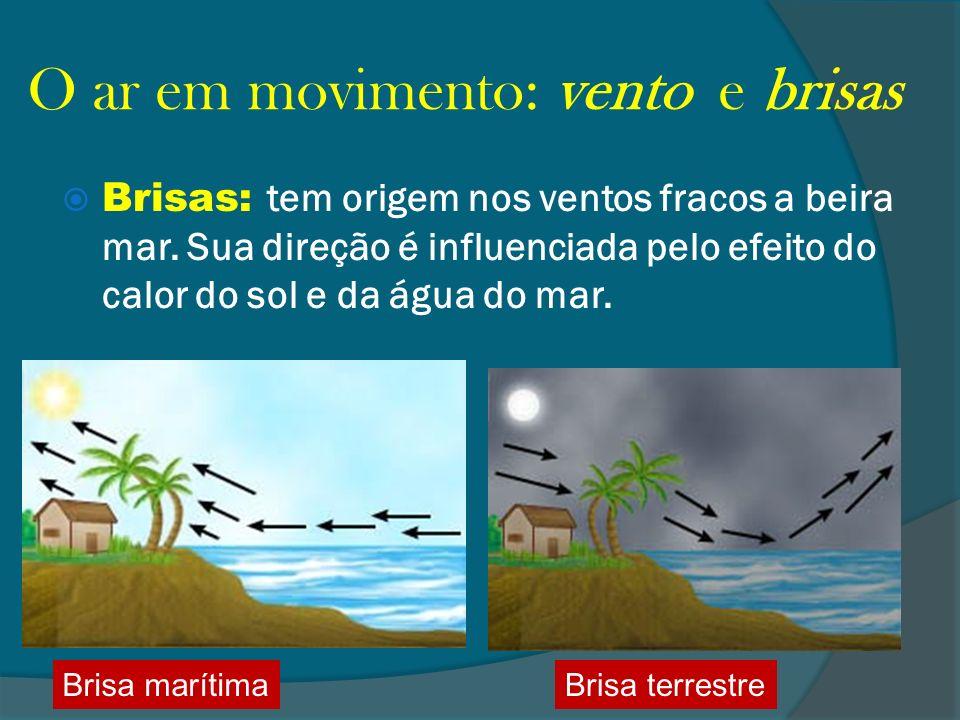 O ar em movimento: vento e brisas Brisas: tem origem nos ventos fracos a beira mar. Sua direção é influenciada pelo efeito do calor do sol e da água d