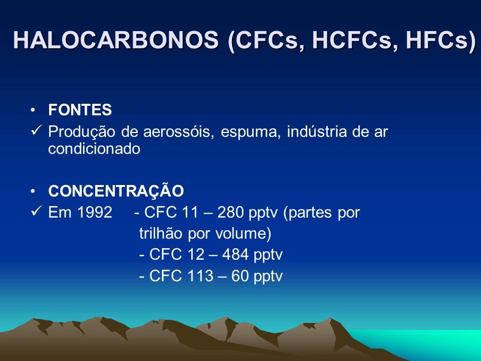 HALOCARBONOS (CFCs, HCFCs, HFCs) FONTES Produção de aerossóis, espuma, indústria de ar condicionado CONCENTRAÇÃO Em 1992 - CFC 11 – 280 pptv (partes p