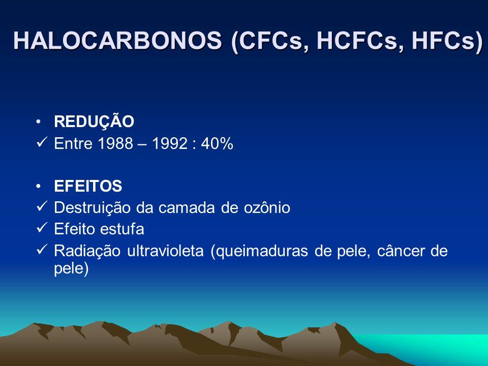 REDUÇÃO Entre 1988 – 1992 : 40% EFEITOS Destruição da camada de ozônio Efeito estufa Radiação ultravioleta (queimaduras de pele, câncer de pele) HALOC