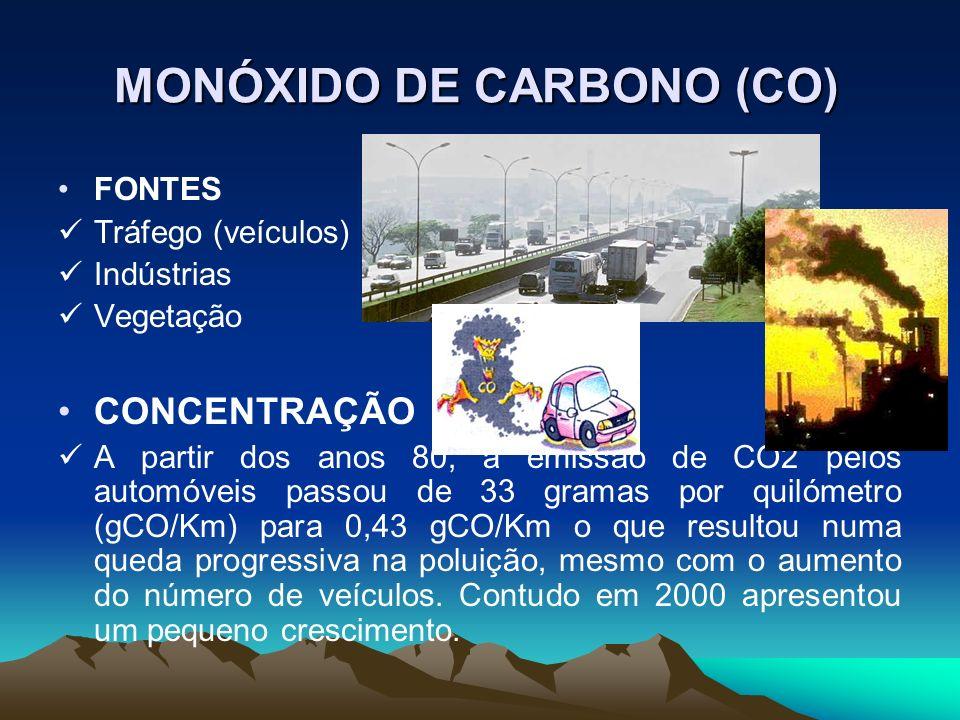 MONÓXIDO DE CARBONO (CO) FONTES Tráfego (veículos) Indústrias Vegetação CONCENTRAÇÃO A partir dos anos 80, a emissão de CO2 pelos automóveis passou de